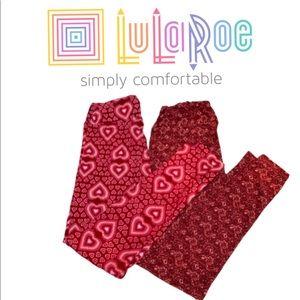LULAROE 💝 pink hearts/Wine Floral Leggings Bundle